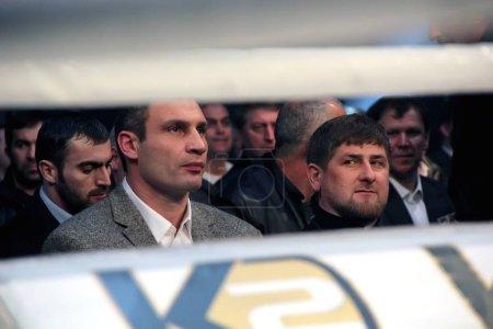 Brovary, UKRAINE, 4.12.2010 Ukrainian politician, boxer Vitali Klitschko, Chechen President Ramzan Kadyrov. Watching the fight in boxing.
