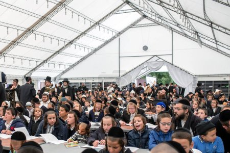 Uman,Ukraine, 13.09.2015: A lot of Jewish children...