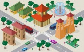Isometric cityscape of east asian buildings streets pagoda fortress gates fountain crossroad cars buses and people