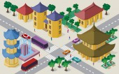 Isometric cityscape of east asian buildings streets pagoda fountain crossroad cars buses and people