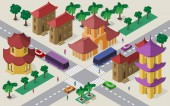 Isometric cityscape of east asian buildings streets pagoda crossroad cars buses and people