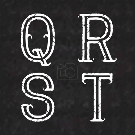 Photo pour Q, R, S, T lettres blanches de peinture minable sur une surface de marbre noir. Décrivez la police avec des fissures. Type de style grunge. - image libre de droit