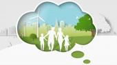 """Постер, картина, фотообои """"Зеленой энергии концепции, измерение мышления, семья гуляют в парке зеленого города. Бумага искусства векторные иллюстрации"""""""