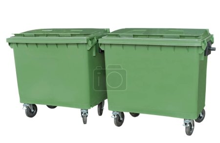 big green new garbage containers on white background
