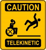 Humor warning caution yellow sign telekinetic man