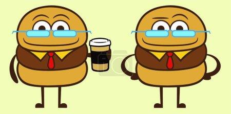 Cartoon bisuness cheeseburger and ketchup tie...