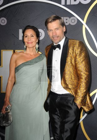 Photo for Nukaaka Coster-Waldau and Nikolaj Coster-Waldau at the HBO's Official 2019 Emmy After Party held at the Pacific Design Center in West Hollywood, USA on September 22, 2019. - Royalty Free Image