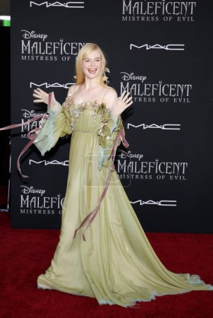 Photo for Elle Fanning at the World premiere of Disney's 'Maleficent: Mistress Of Evil' held at the El Capitan Theatre in Hollywood, USA on September 30, 2019. - Royalty Free Image