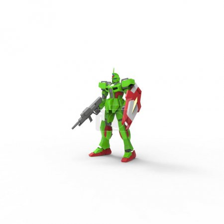 Photo for Sci-fi mech soldier standing on a white background. Military futuristic robot with a green and gray color metal. Mech controlled by a pilot. Scratched metal armor robot. Mech Battle. 3D rendering - Royalty Free Image