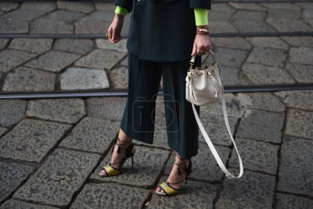 Photo for Milan, Italy - September 19, 2018: Street style outfits before ALBERTA FERRETTI fashion show during Milan Fashion Week. - Royalty Free Image