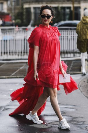 Paris, France - March 04, 2019: Street style outfi...