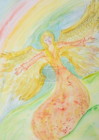 Photo pour Un ange féminin volant. La technique de tamponnage près des bords donne un effet de mise au point doux en raison de la rugosité de surface modifiée du papier - image libre de droit
