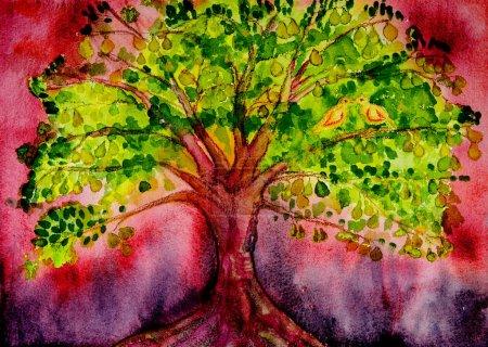 Photo pour Poirier psychédélique avec colombes et fond rouge. La technique de tamponnage près des bords donne un effet de mise au point doux en raison de la rugosité de surface modifiée du papier - image libre de droit