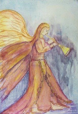 Photo pour Angel sonne de la trompette. La technique de tamponnage près des bords donne un effet de mise au point doux en raison de la rugosité de surface modifiée du papier - image libre de droit