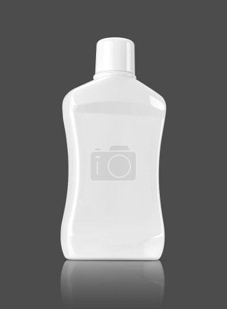 Photo for Blank packaging mouthwash plastic bottle isolated on gray background with clipping path ready for product design - Royalty Free Image