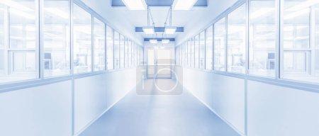 Photo pour Intérieur moderne du laboratoire de science ou de l'arrière-plan d'usine de l'industrie avec passerelle et lumière fluorescente lumineuse - image libre de droit