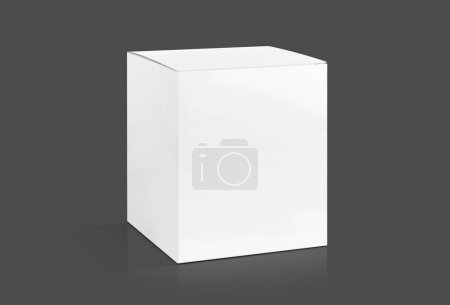 Photo for Blank packaging white cardboard box isolated on gray background with clipping path ready for product design mock-up - Royalty Free Image