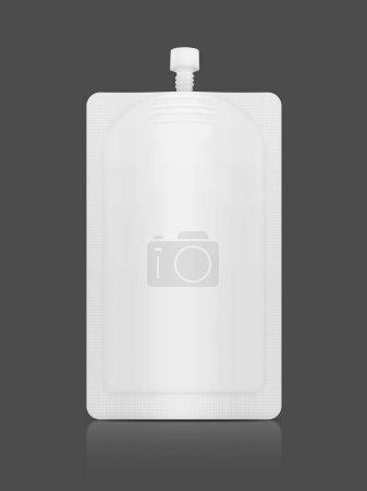 Photo pour Emballage vierge sachet de crème cosmétique blanc pour la conception de produits maquettes isolé sur fond gris - image libre de droit