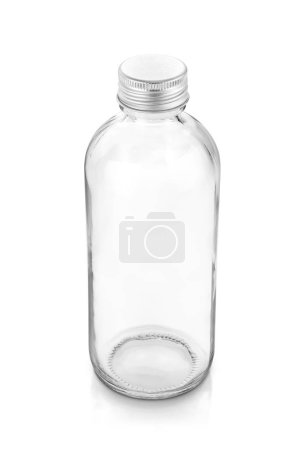 Photo for Blank packaging transparent glass bottle for beverage or medicament product design mock-up isolated on white background with clipping path - Royalty Free Image