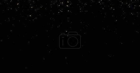 Photo pour Rideau doré à paillettes avec fond lumineux étincelant. Lumière magique qui coule, étincelles qui tombent, fils lumineux et éblouissement scintillant brillant - image libre de droit