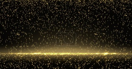 Photo pour Pluie dorée, particules d'or, lumières scintillantes. Étincelles de lumière Bokeh et lueur scintillante sur fond noir et or de luxe - image libre de droit