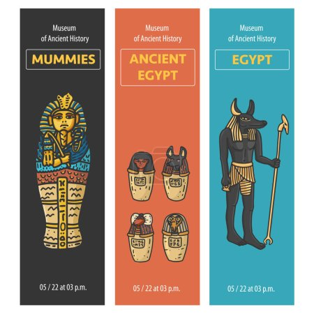 Vector set of thee bookmarks design with Ancient E...