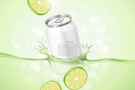 Illustration for Lime flavor beverage ads with product soaking in the liquid on green bokeh background, 3d illustration - Royalty Free Image