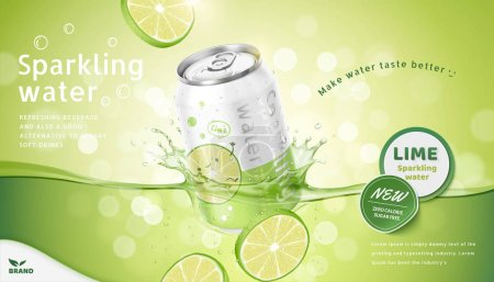 Illustration for Lime flavor sparkling water ads with product soaking in the liquid on green bokeh background, 3d illustration - Royalty Free Image