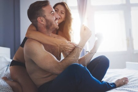 Expression of passionate lovemaking during foreplay romantic