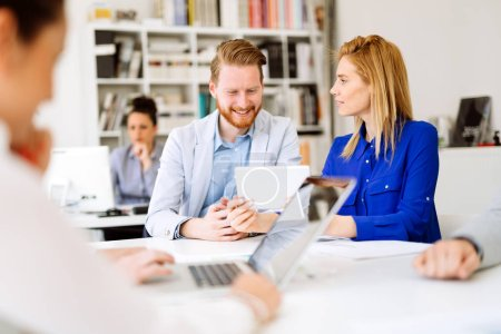 Business coworkers teamwork in modern white office