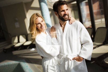 Portrait of attractive cheerful couple in spa center