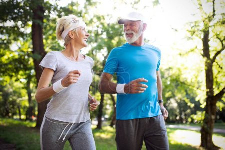 Photo for Happy senior people couple exercising for healthy life - Royalty Free Image