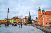 Warsaw, Poland - 03.01.2019: Royal Castle, ancient townhouses an