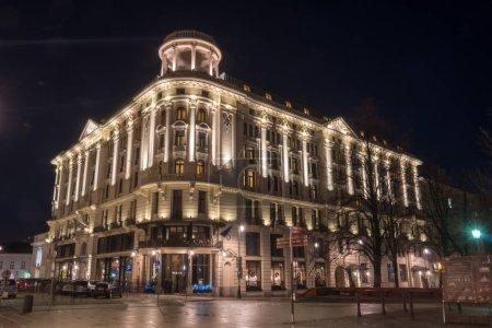 Warsaw, Poland - 01.01.2019: night city lights in old town Warsa