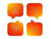 Palm tree waves and deck chair icons