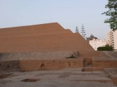 Partial view of the pyramid called Huaca Huallamarca temple. It is circa 2000 years old.  In the San Isidro district of Lima this important archaeological complex is located in the center of the district surrounded by modern buildings and houses. Thi
