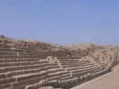 North-south street in Pachacamac where is located in the desert the most important pre columbian oratory of the peruvian coast for more than 1500 years until the end of the Inca empire. It is located 31.5 km south of Lima