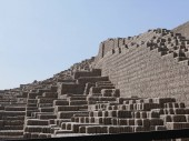 Huaca Pucllana pyramid partial view with adobe vertical bricks and steps. This huaca was built 1700 years ago and is located in Miraflores district of Lima