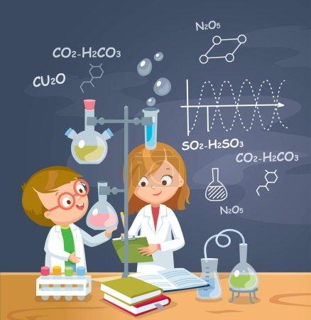 Photo pour Les enfants étudient la chimie en laboratoire. Illustration vectorielle. Conception plate . - image libre de droit