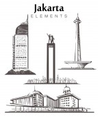 Set of hand-drawn Jakarta buildings Jakarta elements sketch vector illustration
