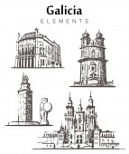 Set of hand-drawn Galicia buildings Galicia elements sketch vector illustration