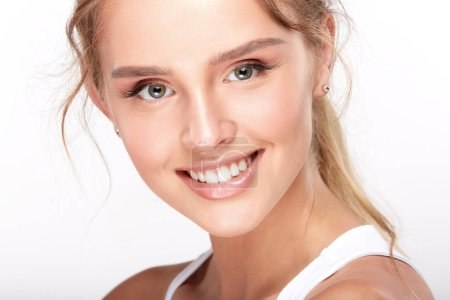beautiful smiling woman with white teeth, dentistry concept