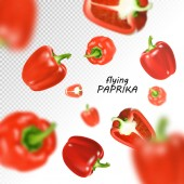 Isolated flying vegetables. Falling sweet red paprika isolated on transparent background. Realistic vector, 3d illustration