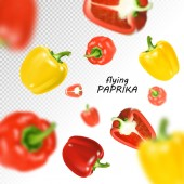 Isolated flying vegetables. Falling sweet red and yellow paprika isolated on transparent background. Realistic vector, 3d illustration