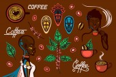 A set of objects on a coffee theme in Ethiopia Women coffee cups coffee branches coffee beans berries traditional masks lettering Vector illustration