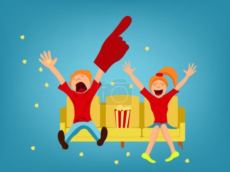 Illustration for Fans on a yellow sofa. The guy and the girl are happy with the victory. - Royalty Free Image