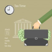 Flat modern business concept of tax day payments time tax time with human hand keeping the briefcase with money and wall clock on the irs building background EPS 1
