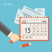 Flat modern business concept of tax day payments time tax time with human hand keeping the magnifier and showing number 15 of the April page of the calendar 2019 year EPS 10