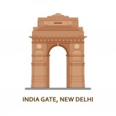 India Gate New Delhi Indian most famous sight Architectural building Famous tourist attractions Vector illustration