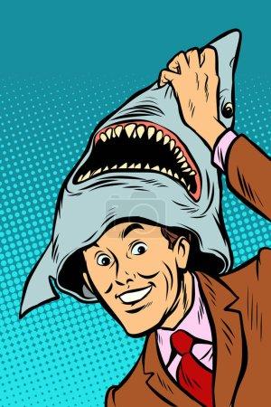 Illustration pour Costume de requin de carnaval. BD dessin animé pop art rétro vectoriel illustration dessin - image libre de droit